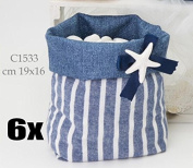 6 PCS Bag saccotto for sugared almond with chalk sea star
