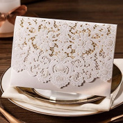 20 X Luxury laser cut embossed flower wedding invitation cards in white colour, FREE matching envelop, insert card and seal