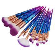 . DELOITO New Arrival 15Pc Mermaid Foundation Eyeshadow Contour Eye Lip Makeup Brushes Set