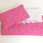 BABY DOLLS PRAM OR COT BEDDING SET ~ PINK FLORAL ~ BABY ANNABELL ~ BABY BORN
