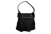 Shoulder bag woman PIERRE CARDIN black in leather Made in Italy VN1048