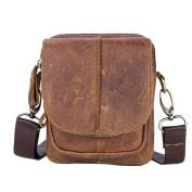 GTUKO Polyester Hard Shoulder Bags New Style Genuine Leather Men'S Satchel Bag Vintage Shoulder For Men 1025 , Brown