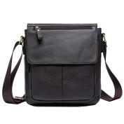Men'S Genuine Leather Men Bag Male Shoulder Crossbody Bags Casual Handbags Small Flap Men Messenger Bags 819 , Coffee