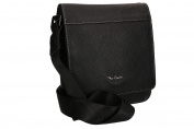 Shoulder belt man PIERRE CARDIN black leather with flap pouch multicompart VF336