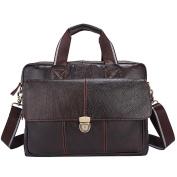 Men Crossbody Bag Handbag Genuine Leather Shoulder Bags Business Leather Laptop Bag Zipper Casual Totes 315 , Coffee