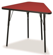Tall Trapezoid Desk in Red with Black legs