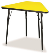 Tall Trapezoid Desk in Yellow with Black Legs