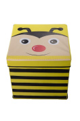 Kid's Cushion Top Bee Collapsible Toy Storage Organiser by Clever Creations | Toy Box Folding Storage Ottoman for Kids Bedroom | Perfect Size Toy Chest for Organising Books, Toys, Kid Clothes