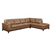 Emerald Home Chestnut Sectional with Faux Leather Upholstery, Padded Arms, and Contrast Stitching