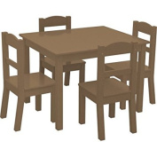 American Kids 5 Piece Brown Wood Table and Chair Set