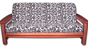 Lifestyle Covers FSHTF-22 140cm by 190cm Baroque Futon Cover Futon Slipcover, Full, Black/White