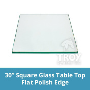 """Square Glass Table Top 80cm Custom Annealed Clear Tempered, ¼"""" Thick Glass with Flat Polished Edge & Radius Corner for Dining Table, Coffee Table, Home & Office Use by TroySys"""
