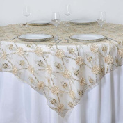 Tableclothsfactory 180cm x 180cm Extravagant Fashionista Style Table Table Overlay - Champagne Lace Netting