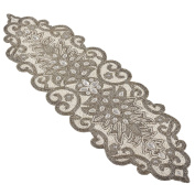 SARO LIFESTYLE Beaded Scroll Motif Design Table Runner, 30cm x 100cm , Silver