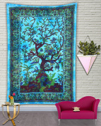Divya Print 100% Cotton Indian Wall Decor Hippie Tapestries Bohemian Mandala Tapestry Wall Hanging Throw (Twin, Turquoise