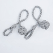 ANJEE Hand Knitting Holdbacks for Blackout Curtains, Rustic Cotton Rope Tiebacks with Single Ball