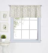 Elrene Home Fashions 026865775228 Leaf Jacquard Linen Rod Pocket Kitchen/Cafe Valance Window Curtain, 150cm x 38cm , Linen