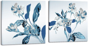 Mon Art 30cm x 30cm x 2 Pics Retro Blue Orchid Flower Blossom Fresh Literature Painting Originality Wall Art Modern Canvas Decor Decoration Stretched and Framed Ready to Hang