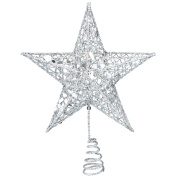 Resinta Metal Glittered Christmas Tree Topper Hallow Wire Star Topper for Christmas Tree Ornament