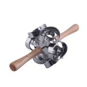 Fast Revolving Donut Cutter Maker Mould Moulding Plastic Cutter with Wooden Handles Safety Convenience