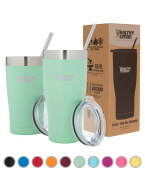 Healthy Human Insulated Tumbler Cruisers with Stainless Steel Straw & Clear Lid - Keeps Hot & Cold Beverages 2 Times Longer - Vacuum Double Walled Thermos 950ml Seamist