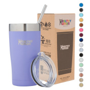 Healthy Human Insulated Stainless Steel Tumbler Cruisers - Travel Cup with Lid & Straw - Vacuum Double Walled Thermos - Idea for Coffee, Tea & Water 590ml Lilac