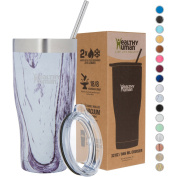 Healthy Human Insulated Tumbler Cruisers with Stainless Steel Straw & Clear Lid - Keeps Hot & Cold Beverages 2 Times Longer - Vacuum Double Walled Thermos 950ml Orchid Driftwood
