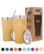 Healthy Human Insulated Stainless Steel Tumbler Cruisers - Travel Cup with Lid & Straw - Vacuum Double Walled Thermos - Idea for Coffee, Tea & Water 950ml Golden Oak