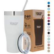 Healthy Human Insulated Stainless Steel Tumbler Cruisers - Travel Cup with Lid & Straw - Vacuum Double Walled Thermos - Idea for Coffee, Tea & Water 950ml Pure White
