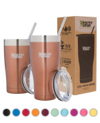 Healthy Human Insulated Tumbler Cruisers with Stainless Steel Straw & Clear Lid - Keeps Hot & Cold Beverages 2 Times Longer - Vacuum Double Walled Thermos 950ml Sunset Gold