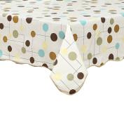 Artisan Flair AF4760-156 Coloful Polka Dots Vinyl Tablecloth Waterproof Rectangle-120cm x 150cm