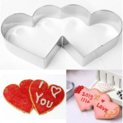 JD Million shop Sweet double heart love cookie cutter cookie DIY tools stainless steel model