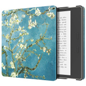 MoKo Case for All-New Kindle Oasis (9th Generation, 2017 Release) - Slim Fit Premium PU Leather Protective Cover with Auto Wake / Sleep for Amazon Kindle Oasis E-reader Case, Almond Blossom