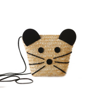 Flada Cute Mouse Cross-body Bag Straw Bag Should Bags for Daily Travel Holiday Beach