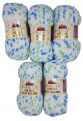 5 x 100 g Himalayan Dolphin Baby Colours White Blue Mint 80409 500 g Wool Super Bulky