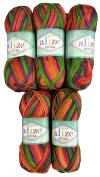 '5 x 100g Alize Knitting Yarn Terracotta Extra Thick Wool Folklorik Batik 4895, 500 Grammes, Green/Purple/Orange