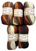 5 x 3380, 100 grammes, Alize Superlana Wool Grey Brown Ochre Taupe Beige Cream White with Colour Gradient, 500 g Knitting Wool 75% Acrylic 25% Wool