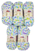 5 x 100 g Himalayan Dolphin Baby Colours White Blue Lilac Green 80422 500 Gramme Wool Super Bulky