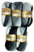 5 x 1900 Alize Knitting Yarn 100 g Colour Gradient Black Grey White Mohair Knit and Crochet 500 Gramme Cotton