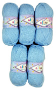 5 x 100g Knitting Wool Alize Bebe Blue No. 183 500 Gramme Wool Knit and Crochet