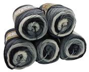 5 x 1900 100 g Alize Burcum Batik Cotton Black Grey White with Colour Gradient, 500 Gramme Knitting Wool