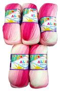 5 x 100g Alize Yarn Bebe Batik Pink Wool No. 2164 500 g White