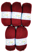5 x 100g Knitting Wool Alize Bebe Bordeaux Red No. 57 500 GSM Wool Knit and Crochet