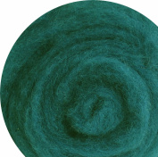 100% Wool for Felting or Spinning Carded Roving Wool for Both Dry and Wet Felting - Teal Green Blue , 50 g