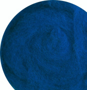 100% Wool for Felting or Spinning Carded Roving Wool for Both Dry and Wet Felting - Blue Indigo, 100 g