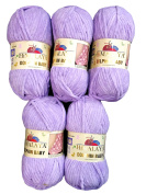 5 x Himalaya Dolphin Baby 80305 Purple Yarn for Knitting and Crochet, 500 Grammes