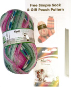 Opal 4ply Yarn Sock Knitting Kit - Wool, DPN's, Stitch Markers & Pattern Schafpate 7955 Kate