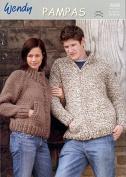 Wendy Ladies & Mens Jackets Pampas Knitting Pattern 5038 Super Chunky