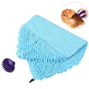 Petacc Soft Chenille Dog Towel Fast Drying Pet Bath Cloth Absorbent Dog Washcloth with a Massage Brush, Strong Absorption, Perfect for Drying Pet's Hair, 80cm x 36cm
