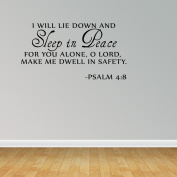 Sleep In Peace Psalm 4:8 Bible Verse Lettering Wall Decal Quote Inspire J654